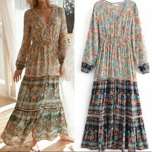 Dresses & Skirts - Floral Maxi DRESS Meadow Longsleeves Assha NEW